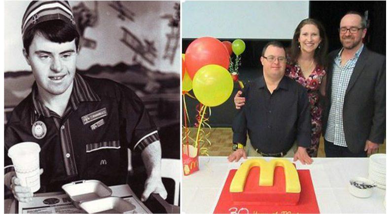 """""""축하해요!"""" 맥도날드에서 30년 근무한 다운증후군 아저씨"""
