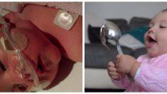갓난아기의 몸 속에는 피가 2스푼 정도밖에 없었습니다