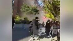 지진에 무너지는 건물에서 피하는 포항 한동대 학생들(영상)