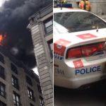 '경찰차, BMW 밀치고' 화재현장 진입하는 캐나다 소방차