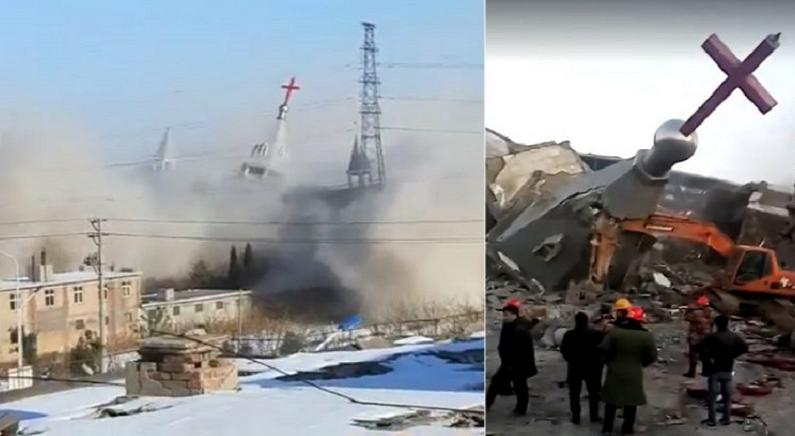 신도들의 눈물 속에서 폭파되고 있는 중국 '가정교회' 모습