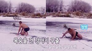 '얼음 물에 빠진 개' 구하기 위해 목숨 걸고 빙판에 오른 남성