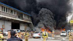 인천 화학공장에 대형 화재..소방차 '펑' 소리내며 전소(영상)
