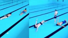 (영상) 물 없이도 치열한 수영 시합