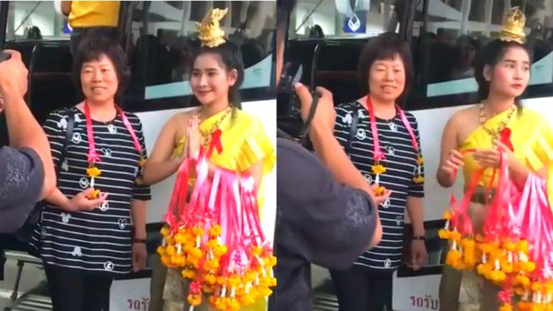 '찰칵'할 때만 웃어주는 태국 관광 도우미, 중국서 논란(영상)
