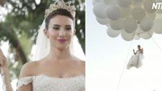 (영상) 웨딩드레스 입은 채 풍선 타고 하늘로 날아오른 신부.. 그녀가 향한 곳은