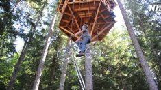 (영상) 높은 나무 집에 어떻게 올라갈까? 정답은 환상적인 '자전거 엘리베이터'