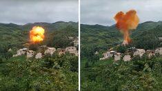 마을에 추락한 로켓 잔해..대폭발과 함께 유독 가스 발생