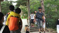 """장애인 아내 업은 중국 남자, """"함께 아시아 여행해요"""""""