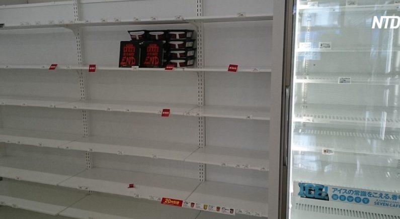 홋카이도 지진으로 사람 몰린 일본 마트의 텅 빈 진열대에 남은 유일한 식품(영상)