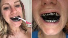 누렇게 변색된 이빨 때문에 숯으로 일주일간 양치한 여성(영상)