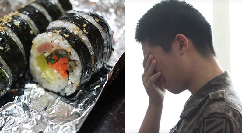 군 면회때 엄마가 싸온 '상한 김밥' 맛있게 먹은 아들