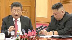 중국 공산당 관영 CCTV에서 보도한 시진핑-김정은 북중 정상회담 구도