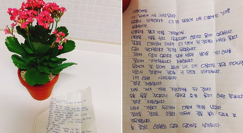 정성어린 손편지와 사과의 선물..주인 마음까지 얻은 '귀여운 꽃도둑'