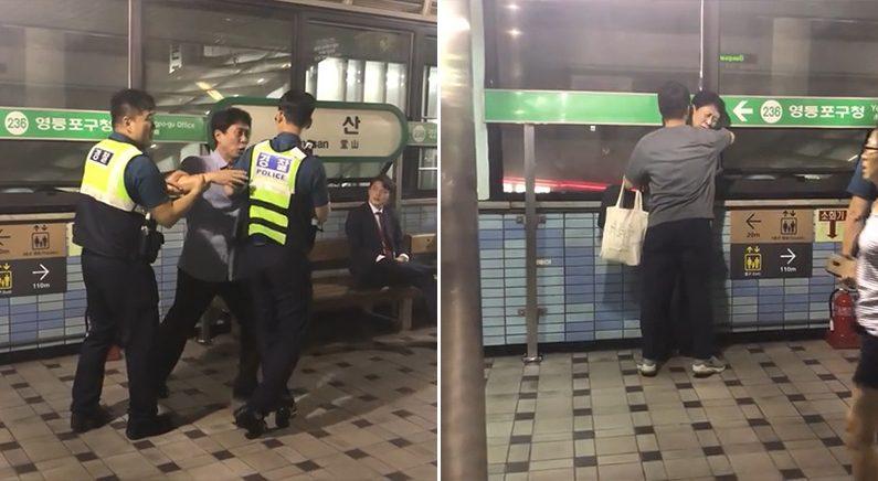 '기습 와락' 훈훈하게 취객을 제압한 청년에 네티즌들 박수(영상)