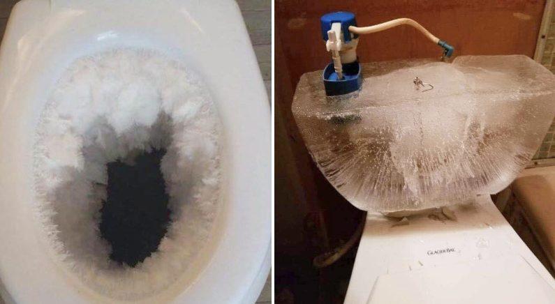 """""""도대체 얼마나 춥길래!""""…엄청난 한파로 얼어버린 '화장실 변기'"""