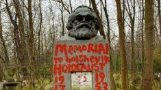 """'공산당의 아버지' 카를 마르크스 묘비 2주간 두 차례 훼손, """"빈곤의 이념, 증오의 교리"""""""