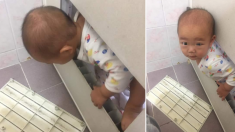 """""""최강 아기"""", 머리로 문 부수고 엄마 찾아 화장실에 들어 온 아이"""