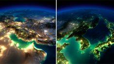 """미우주항공 나사가 찍은 야간 지구 사진 """"신비하고 아름다운 지구 """""""
