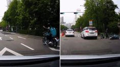 위협운전 후 손가락 욕하고 가는 비매너 오토바이 운전자의 최후