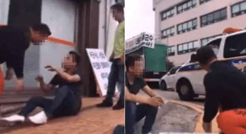 조폭에게 폭행당하는 시민, 옆에서 지켜만 보는 경찰 (영상)
