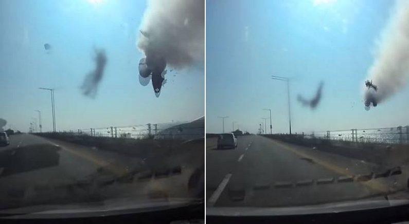 시화방조제 오토바이 사망사고 당시 차량에 찍힌 블랙박스 영상