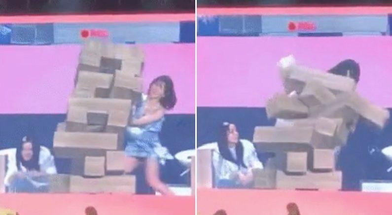 대형 젠가 무너지자 같은 멤버 다칠까봐 온몸으로 막아선 아이돌 (영상)