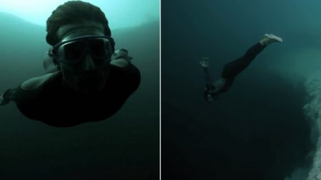 19분 동안 무산소 가능한 다이버가 지구에서 가장 깊은 싱크홀로 들어갔다 (영상)