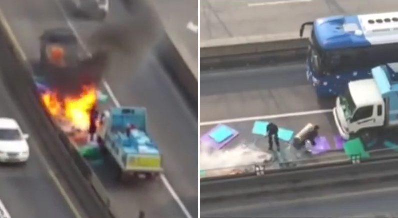 활어 담아두는 물 빼내 '화재 진압'한 트럭 운전사