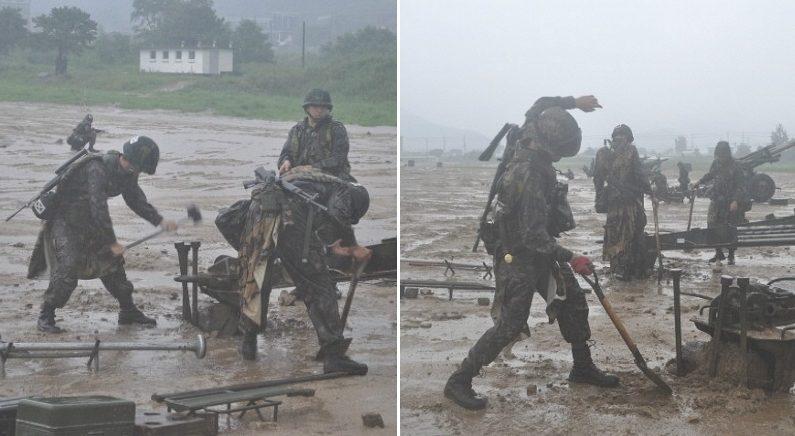 나라 지키기 위해 폭우 속에서 피땀 흘리며 훈련하는 국군 장병들 (사진)
