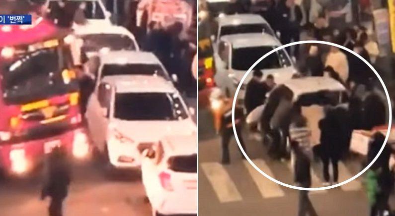소방차 가로막은 '불법 주차 차량' 맨손으로 번쩍 들어 옮긴 시민들 (영상)