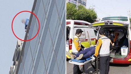 서울 애경백화점 옥상에서 투신하려던 20대 남성이 극적 구조됐다