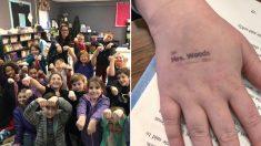 '중공 바이러스' 예방하려 매일 아침 아이들 손등에 '도장' 찍어주는 초등학교 교사