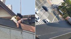 강풍에 떨어지려는 '철판 구조물' 맨손으로 붙잡고 40분 버틴 경찰관