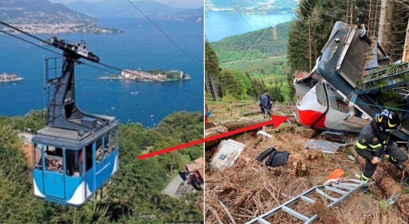 이탈리아서 1491m 정상까지 운행되는 케이블카가 추락해 14명이 사망했다