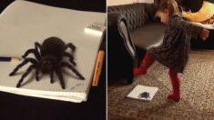 화가 아빠가 너무 리얼한 거미 그림을 그렸을 때 딸의 용감한 반응