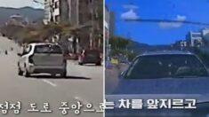 운전자 없이 홀로 질주하는 차량을 '고의 추돌'해 대형사고 막은 20대 청년 (영상)